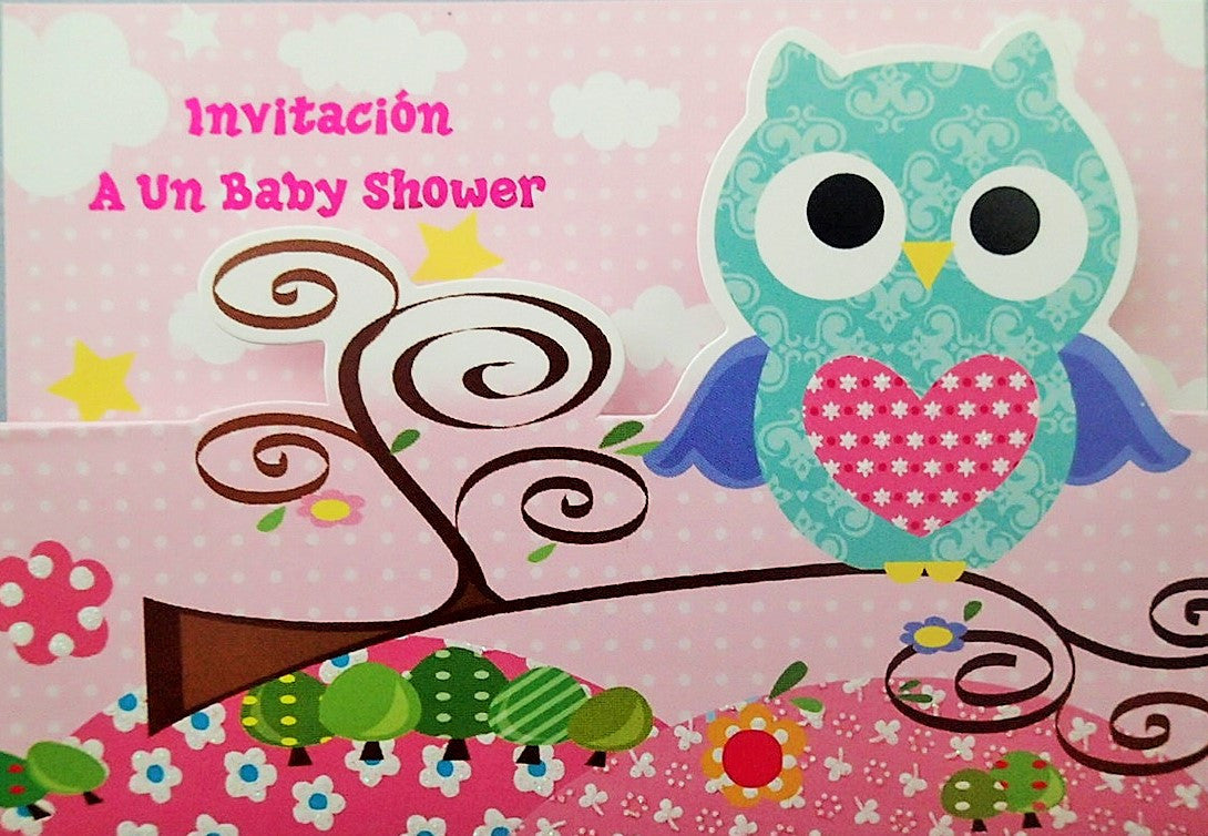 Baby Shower invitation Girl Owl Heart