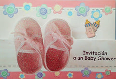 Baby Shower Invitation Girl Little Pink Shoes