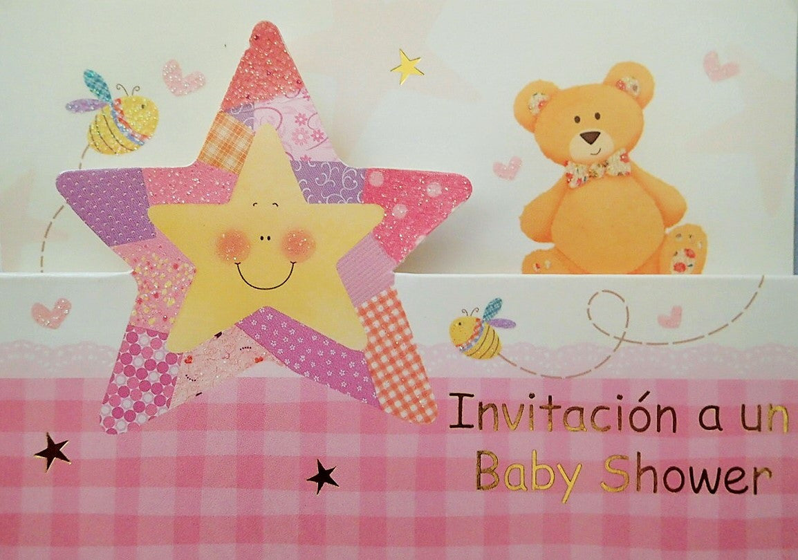 Baby Shower Invitation Girl Star and Teddy
