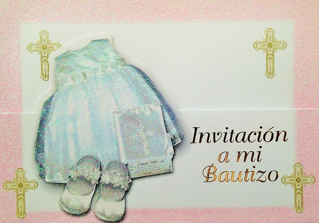 Baptism Invitation Girl Gown White Pink