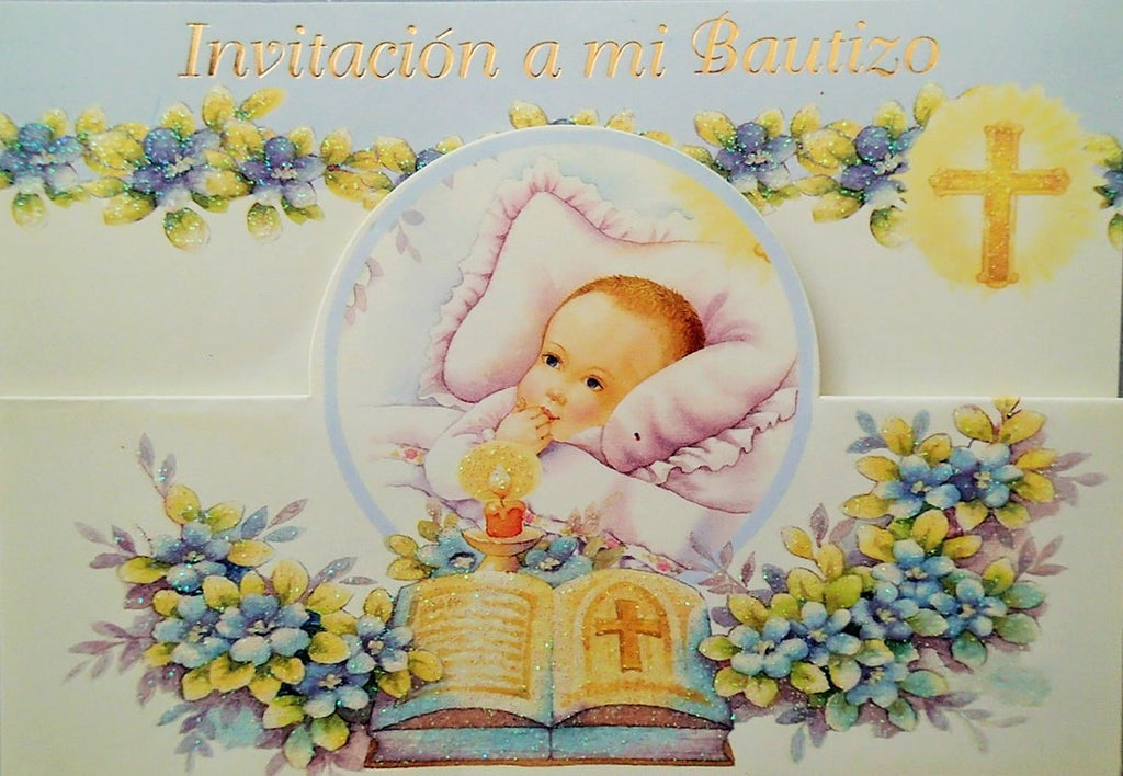 Baptism Invitation Baby Boy with Bible