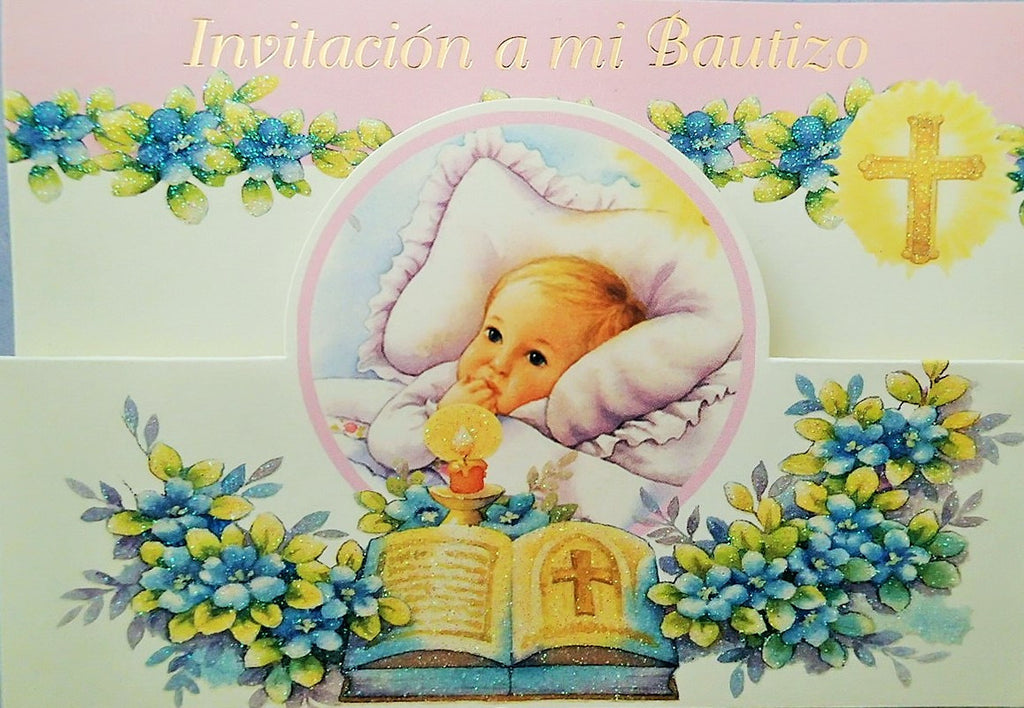 Baptism Invitation Baby Girl With Bible