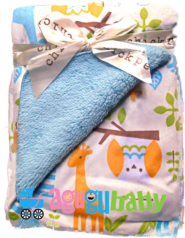Baby Blanket double sided, fleece and plush, blue jungle