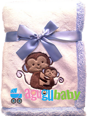 Baby Blanket with embroidered Monkey Boy, Blue