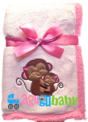 Baby Blanket with embroidered Monkey Girl, Pink