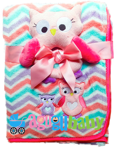 Baby Blanket with soft teether, Owl Pink