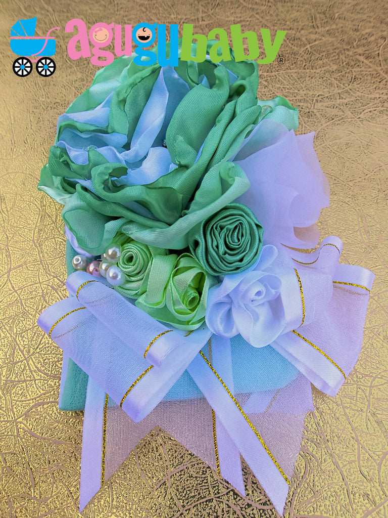 Mint Green and White Nylon Baby Headband