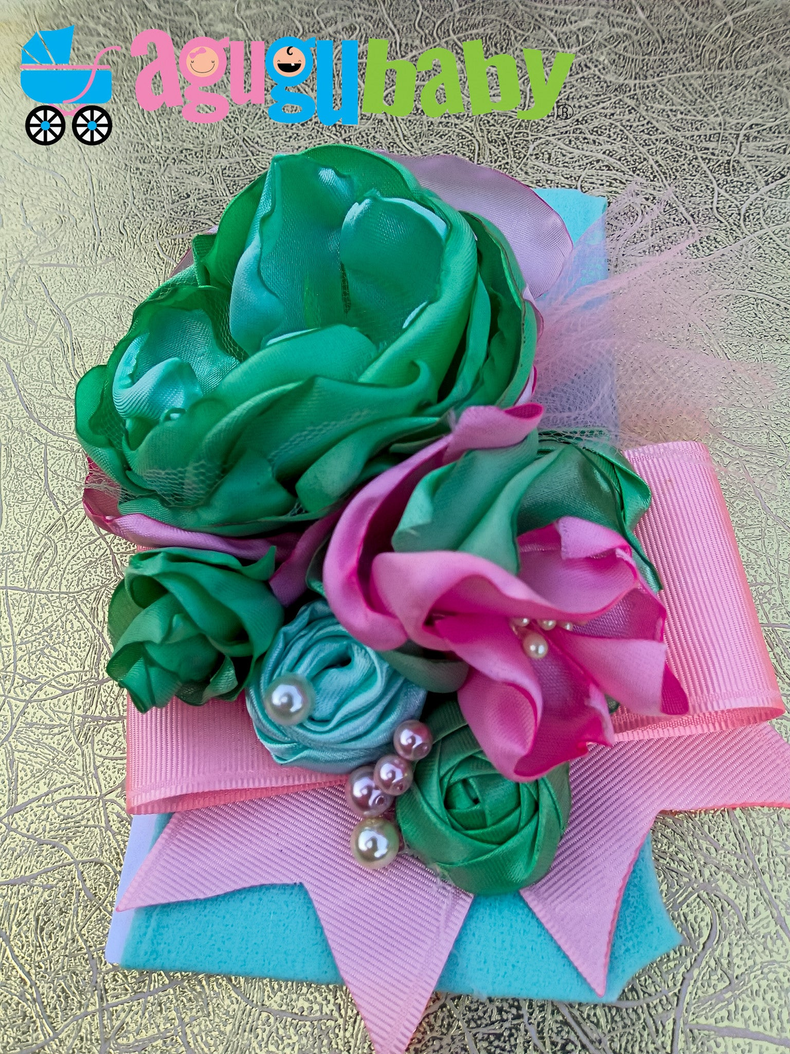 Green Pink & Mint Nylon Baby Headband