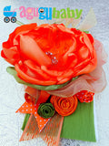 Orange and Olive Green Nylon Baby Headband