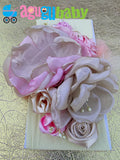 Pink and Beige Nylon Baby Headband