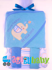 Hooded Baby Towel with five Washclothes Blue Elephant