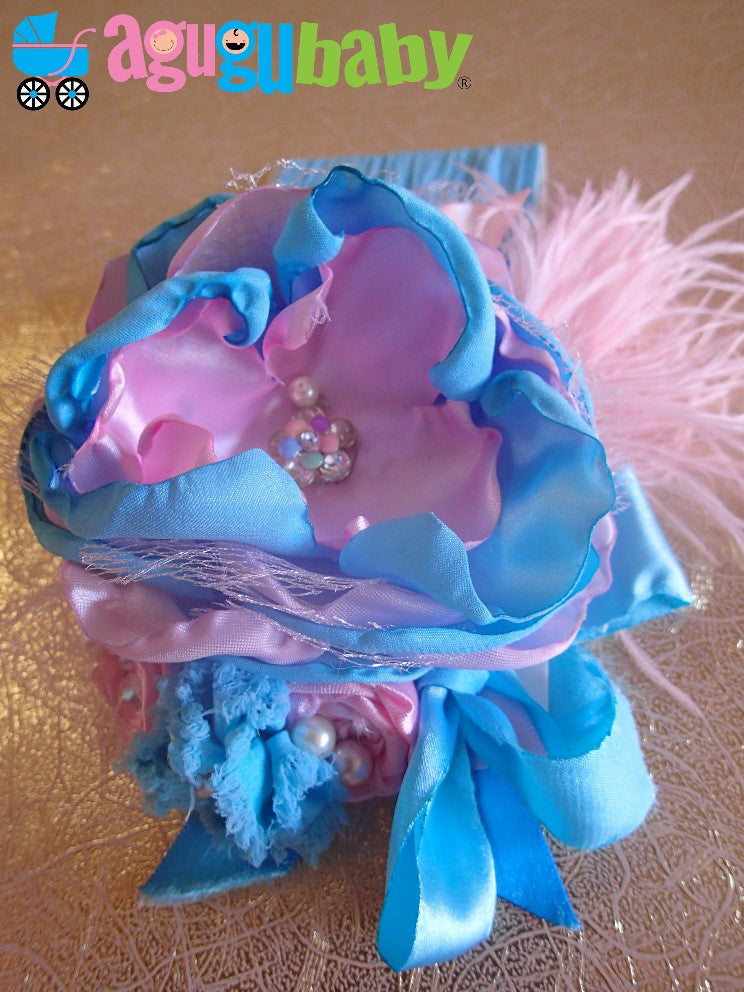 Pink and Baby Blue Nylon Baby Headband