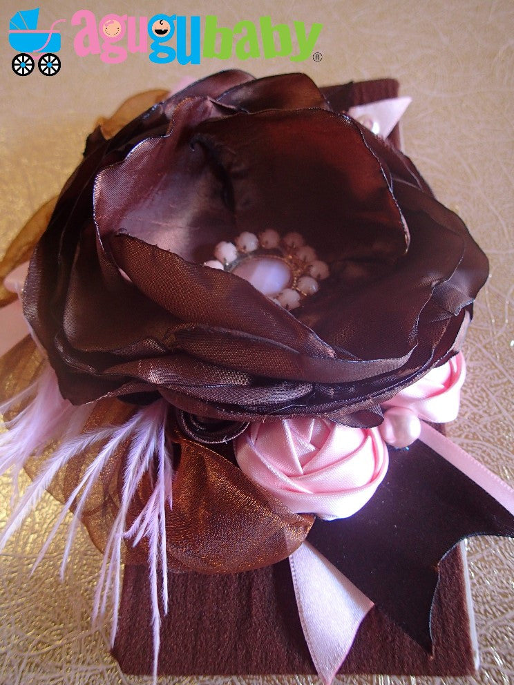 Chocolate and Light Pink Nylon Baby Headband