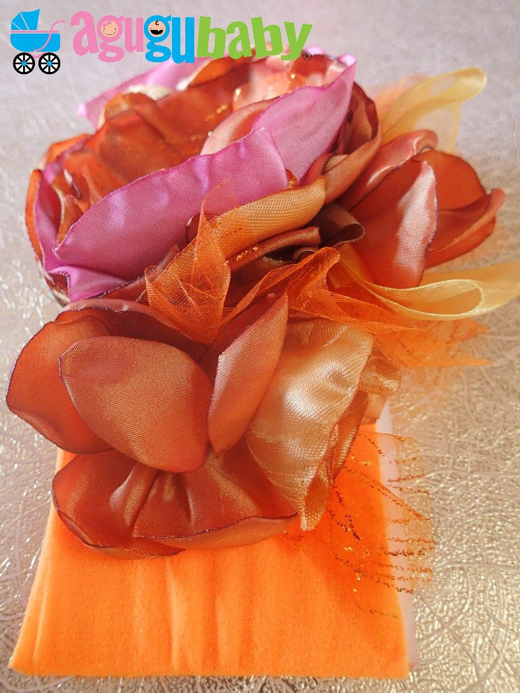 Orange, Pink and Brown Nylon Baby Headband