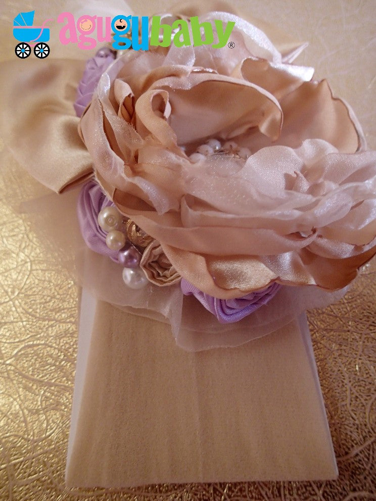 Cream and Lilac Nylon Baby Headband