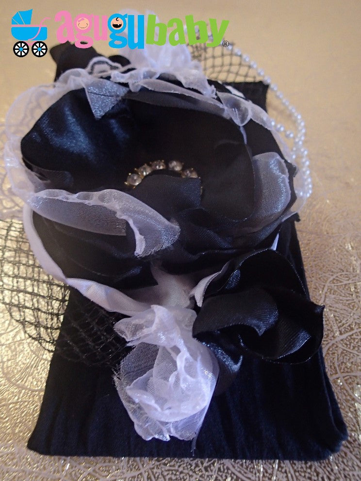 Black and White Pearls Nylon Baby Headband