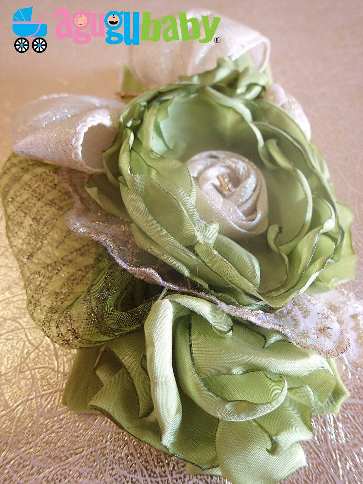 Light Olive Green and Beige Nylon Baby Headband