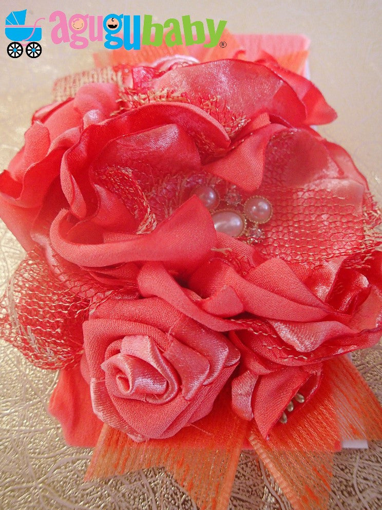 Bright Orange-Coral Nylon Baby Headband