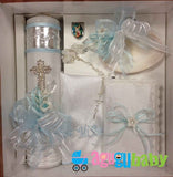 Baptism Candle Set Sparkling Diamonds Cross With Pewter Engraving