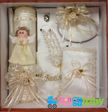 Baptism Candle Set Porcelain Praying Girl Angel with Robe