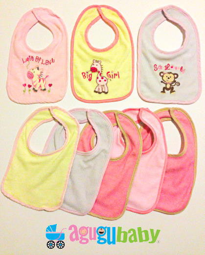 Bibs, Set of 8 terry bibs for girls by cutie pie