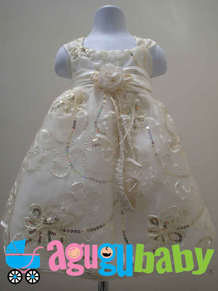 Baby Girl Dress Beige with Gold Sequins and Ribbon Flowers Appliques
