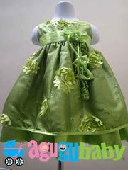 Baby Girl Dress Apple Green With Flower Appliques
