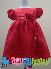 Baby Girl Dress Red with Sleeves, Sequins Appliques