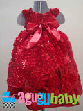 Baby Girl Dress Red Full of Sequins and Flower Ribbon Appliques