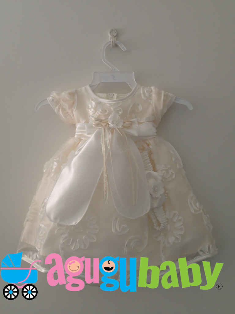 Baby Girl Dress Beige with Sleeve Satin Flower Applique and Panty Included