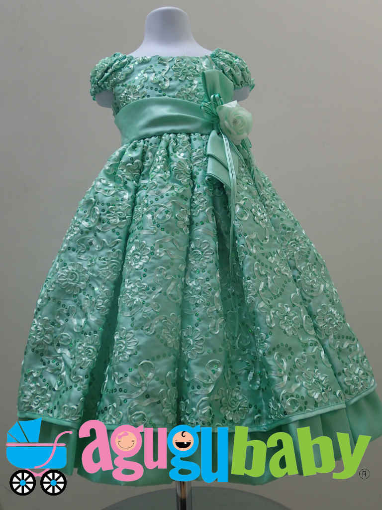 Girl Dress Mint Green color with Sequins and Satin Rattail Embroidery