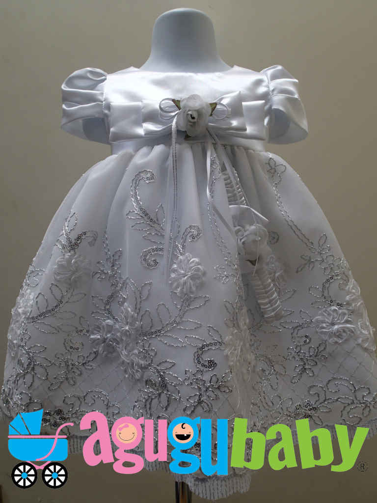 Baby Girl Dress White Satin and Tulle, with silver embroidery annd Ribbon Flower Appliques