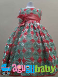 Girl Dress Coral and Mint Green, Satin Ribbon Embroidery