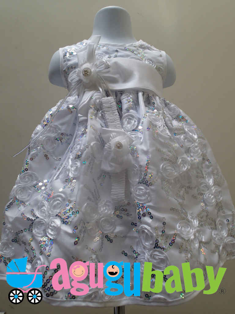 Baby Girl Dress White with  Iridescent Silver Sequins