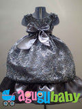Baby Girl Dress Silver with Sequins and Flower Ribbon Appliques