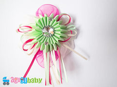 Medium Hair Bow Mint & Pink