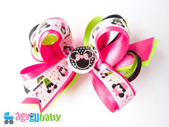 Large Hair Bow Multicolored Minnie Mouse