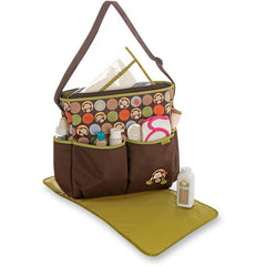 Diaper Bag Brown and Olive Monkeys by Baby Boom