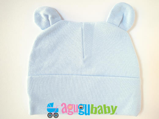 Baby Beanie with ears, 100% Cotton, Blue