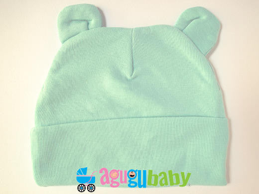 Baby Beanie with ears, 100% Cotton, Green