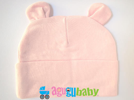 Baby Beanie with ears, 100% Cotton, Pink