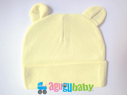 Baby Beanie with ears, 100% Cotton, Yellow
