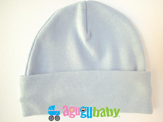 Newborn Baby Beanie, 100% Cotton - Blue