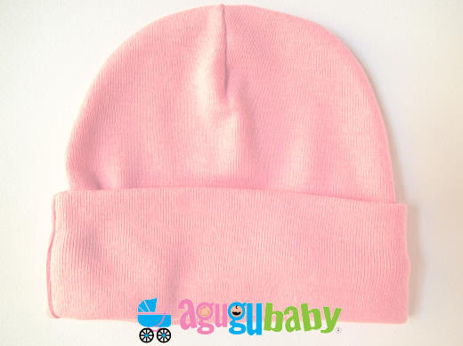 Newborn Baby Beanie, 100% Cotton - Pink