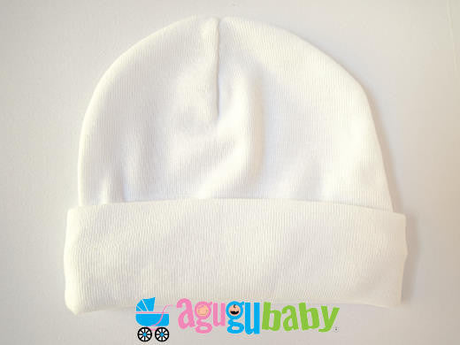 Newborn Baby Beanie, 100% Cotton - White