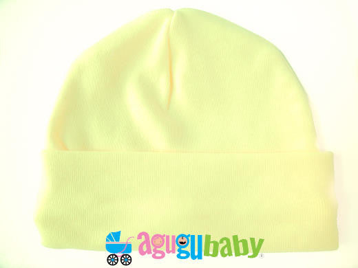 Newborn Baby Beanie, 100% Cotton - Yellow