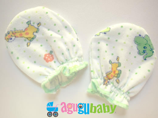 Premature Baby Mittens, 100% Cotton  Green