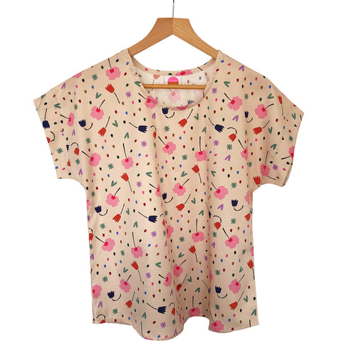 Boxy Top - Floral Explosion Cream (Made to order)