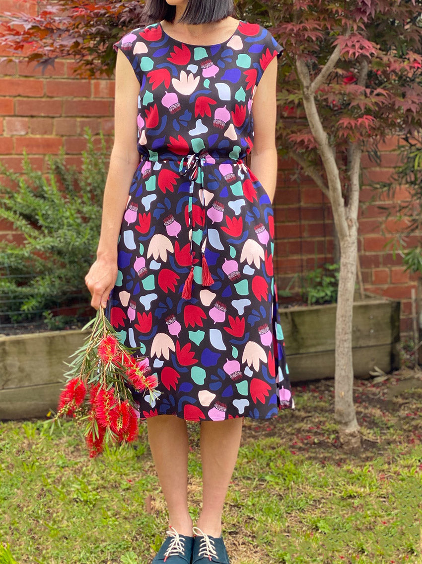 Drawstring Dress - Gum Nut Shapes