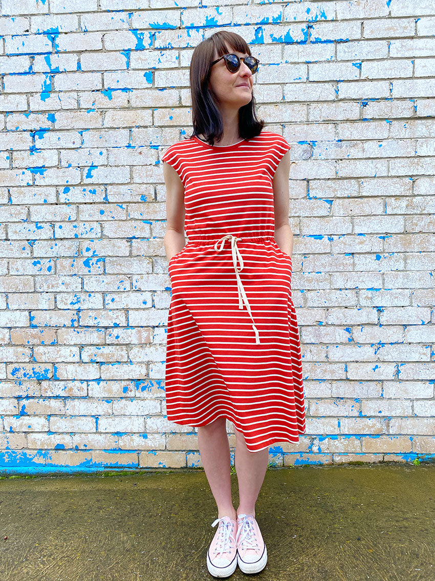 Jersey Drawstring Dress - Rust Red
